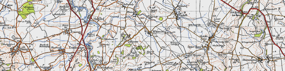 Old map of Whatcote in 1946