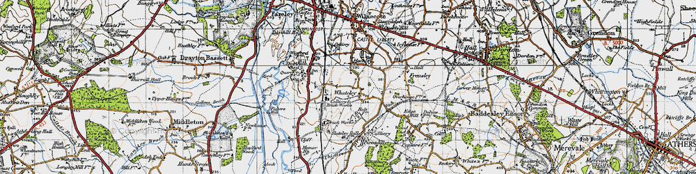 Old map of Whateley in 1946