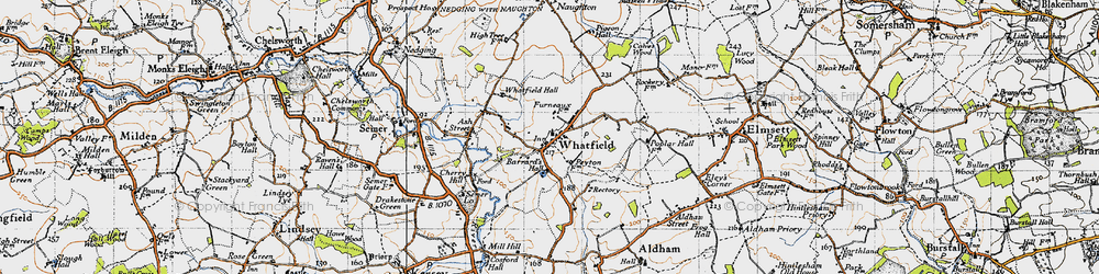 Old map of Whatfield in 1946