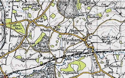 Old map of Whatley in 1945