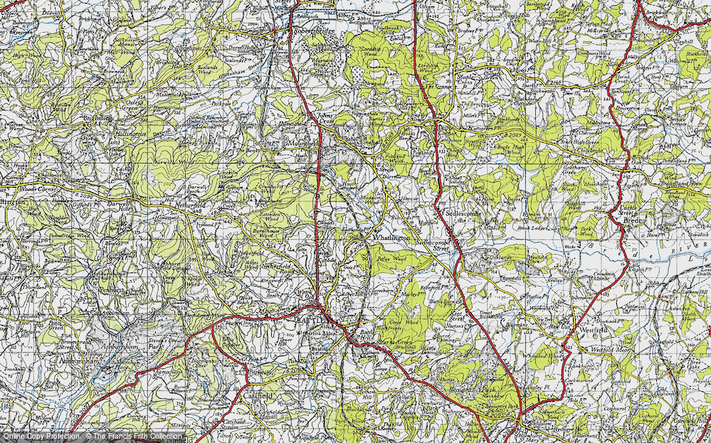 Old Map of Historic Map covering Wood's Place in 1940