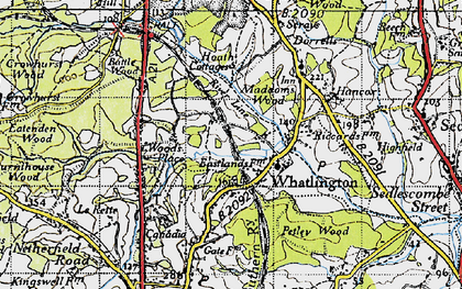 Old map of Whatlington in 1940
