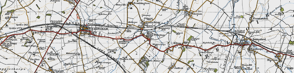 Old map of Whatton-in-the-Vale in 1946