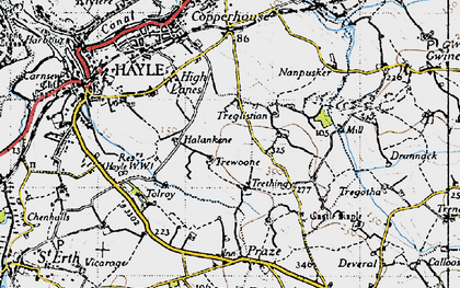 Old map of Wheal Alfred in 1946