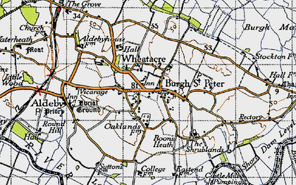 Old map of Wheatacre in 1946
