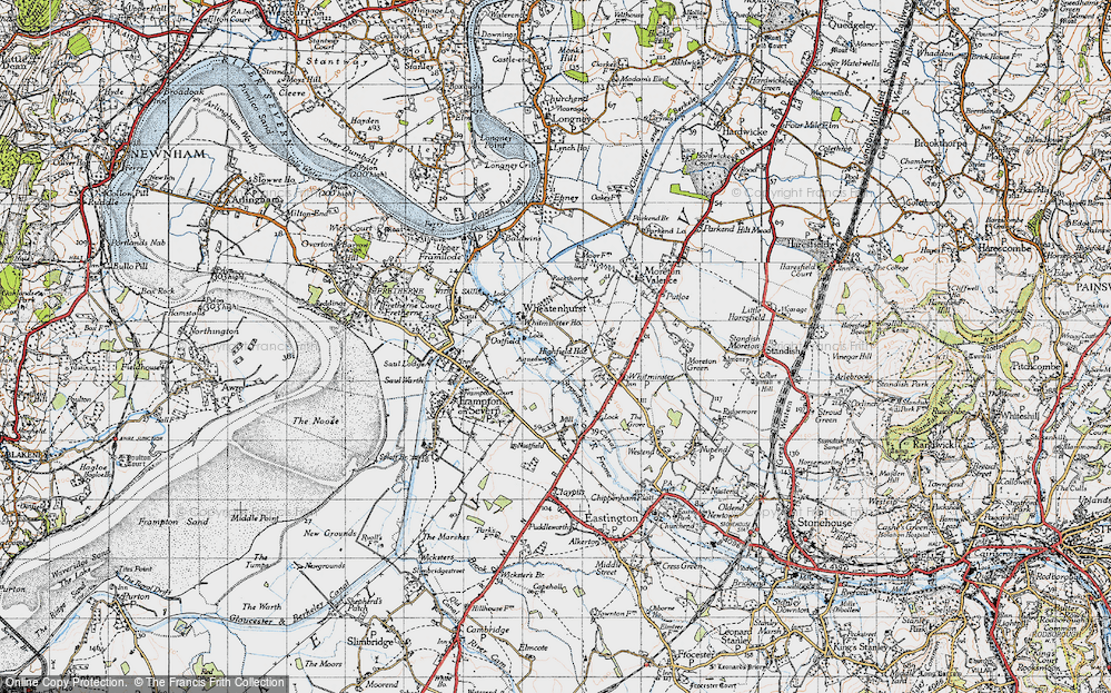 Old Map of Historic Map covering Whitminster Ho in 1946