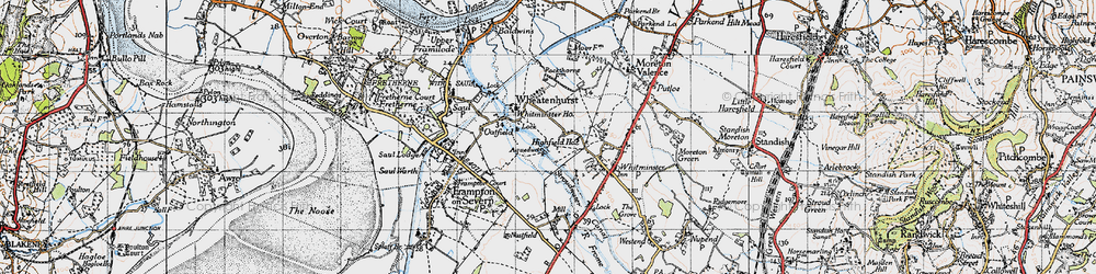 Old map of Whitminster Ho in 1946