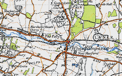 Old map of Wheathampstead in 1946