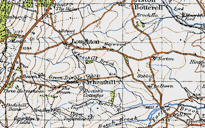 Old map of Wheathill Brook in 1947