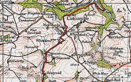 Old map of Wheddon Cross in 1946