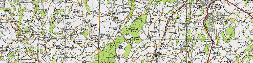 Old map of Wheelbarrow Town in 1947