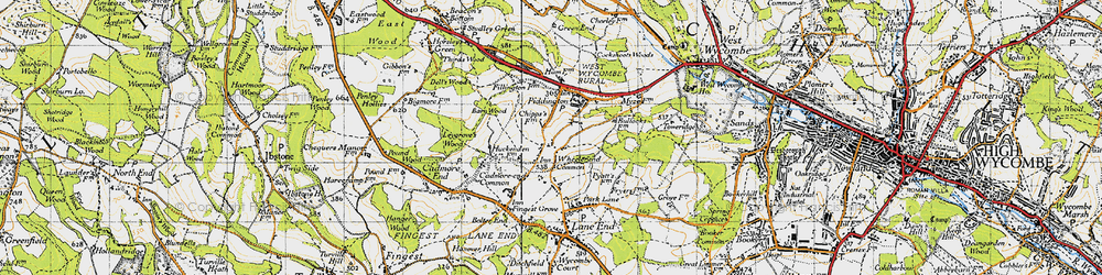 Old map of Wheeler End in 1947