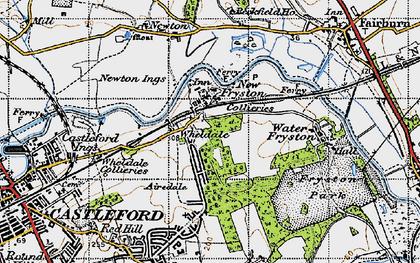 Old map of Wheldale in 1947