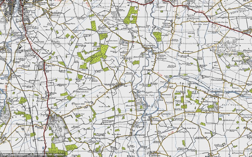 Old Map of Historic Map covering Wheldrake Grange in 1947