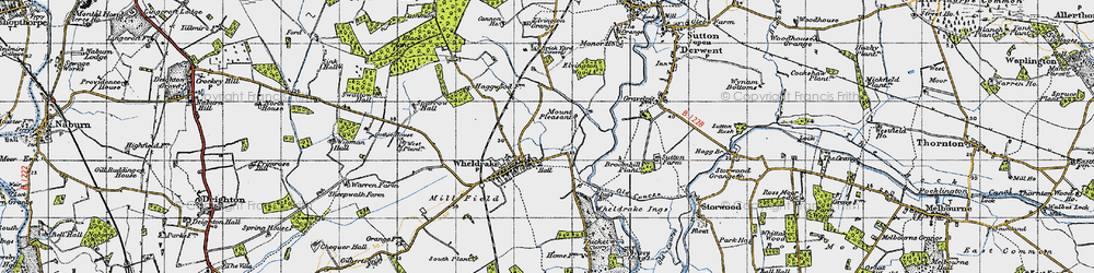 Old map of Wheldrake Grange in 1947