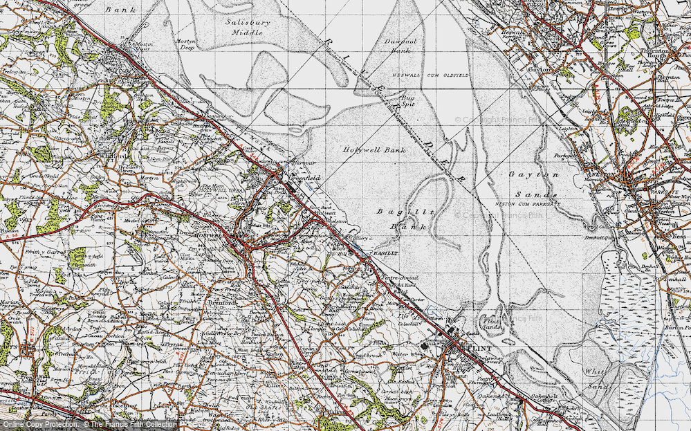 Old Map of Whelston, 1947 in 1947