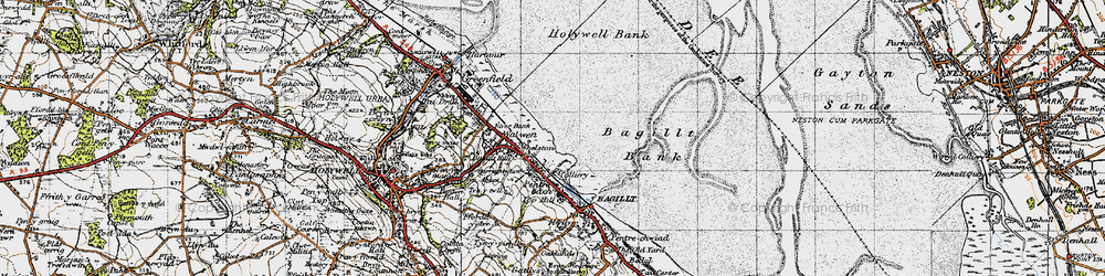 Old map of Whelston in 1947