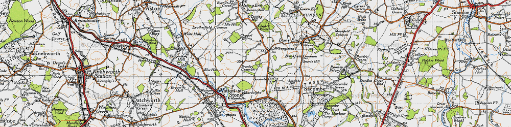 Old map of Whempstead in 1946