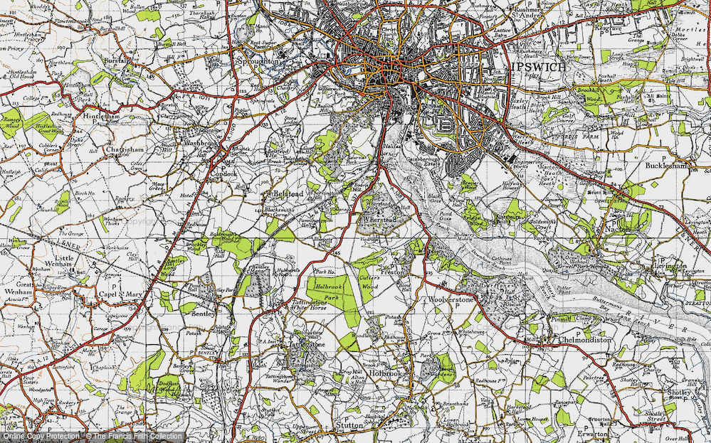 Old Map of Historic Map covering Wherstead Park in 1946