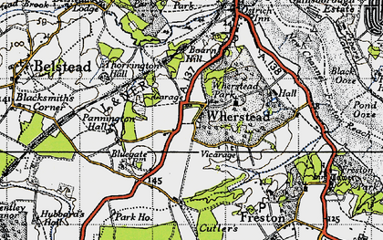 Old map of Wherstead in 1946