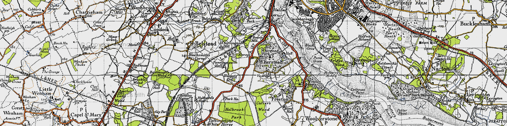 Old map of Wherstead Park in 1946