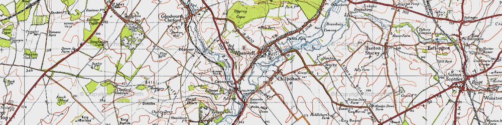 Old map of Wherwell in 1945