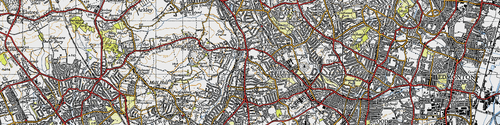 Old map of Whetstone in 1945
