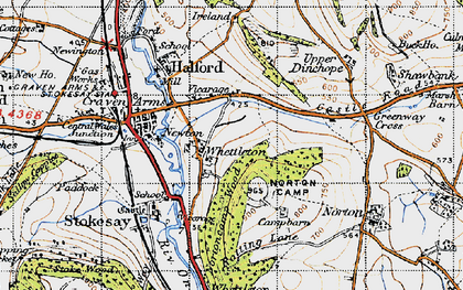 Old map of Whettleton in 1947