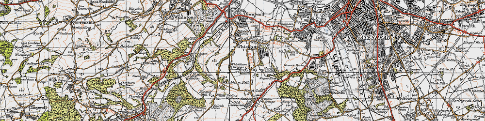 Old map of Whickham in 1947