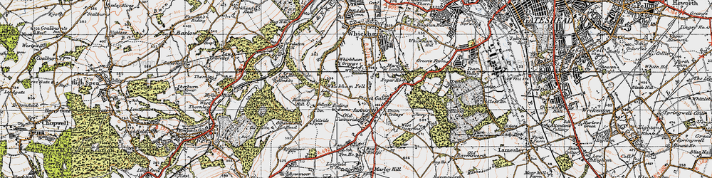 Old map of Whickham Fell in 1947