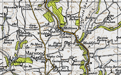 Old map of Whiddon in 1946