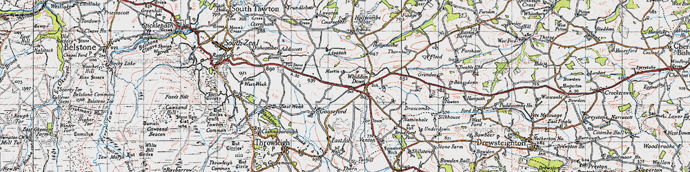 Old map of Whiddon Down in 1946