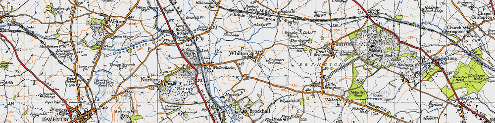 Old map of Whilton in 1946