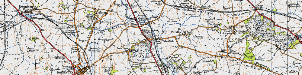 Old map of Whilton Locks in 1946