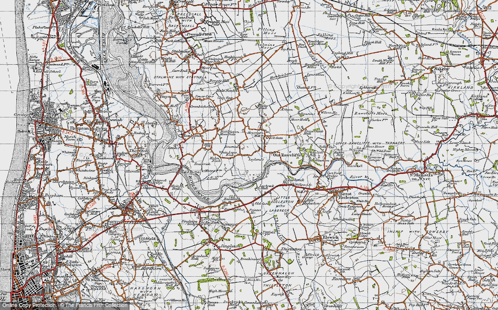 Old Map of Historic Map covering Leylands in 1947