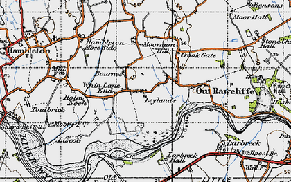 Old map of Whin Lane End in 1947
