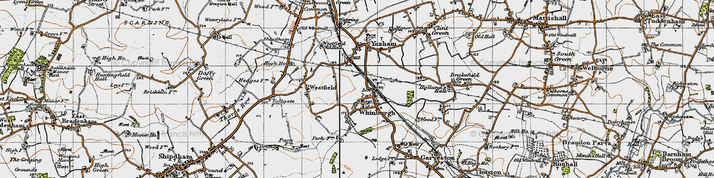 Old map of Whinburgh in 1946