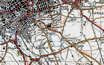Old map of Whinny Heights in 1947