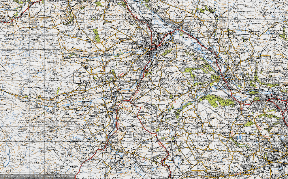 Old Map of Historic Map covering Lees Moor in 1947