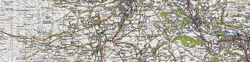Old map of Whins Wood in 1947