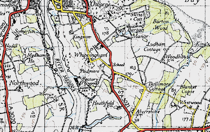 Old map of Whippingham in 1945