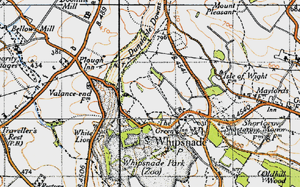 Old map of Whipsnade in 1946