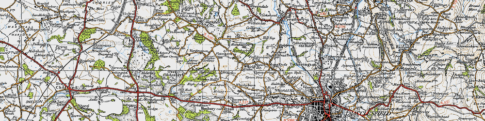 Old map of Whirley Grove in 1947