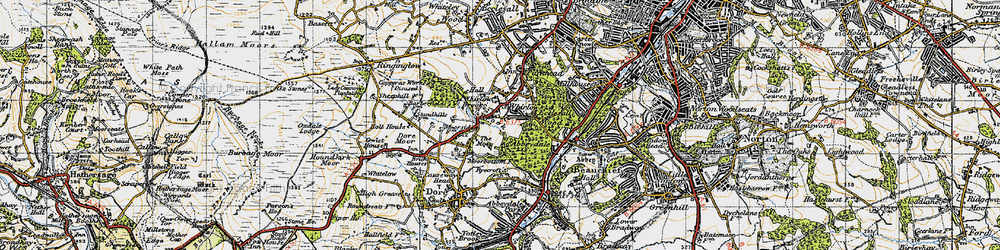Old map of Whirlow in 1947