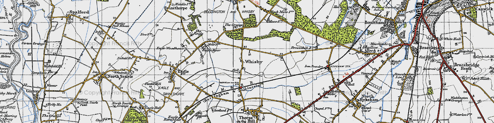 Old map of Whisby in 1947