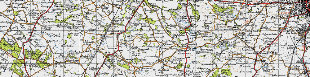 Old map of Whisterfield in 1947