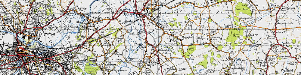 Old map of Whistley Green in 1947
