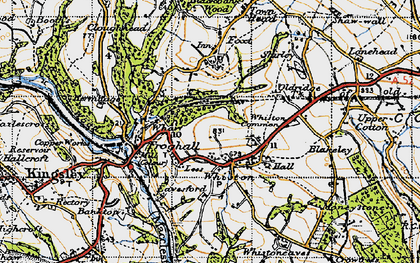 Old map of Whiston in 1946