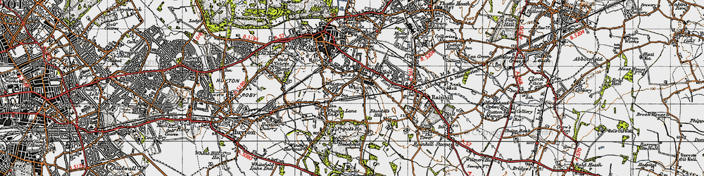 Old map of Whiston in 1947