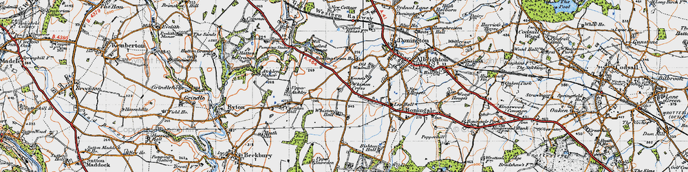 Old map of Whiston Cross in 1946